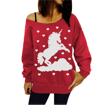 Red Unicorn Print Sweatshirt