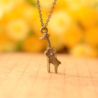 Vintage retro copper Spotted Deer necklace,Spotted Deer with Flower,best gift for lover and friends--N084