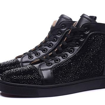 Christian Louboutin Louis Strass Men's Women's Flat Black Leather