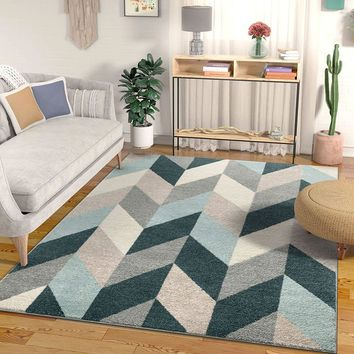 7037 Blue Gray Chevron Contemporary Area Rugs