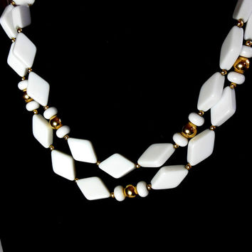 Trifari Necklace White and Gold Beaded