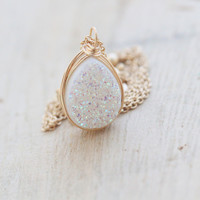 Druzy Teardrop Necklace - Confetti Cream  ( As seen On Law & Order SVU )