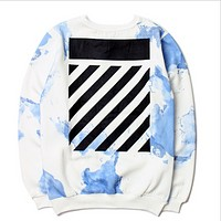 OFF-WHITE sweater white cloud inkjet graffiti stripes death flying skateboard plus cashmere coat men and women lovers