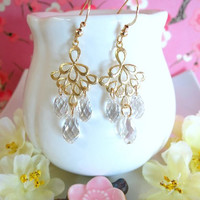 Swarovski crystal gold chandelier earrings, Swarovski crystal bellydance earrings