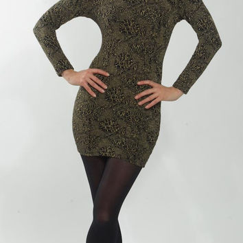 1980's Gold Dress - Vintage Bodycon Black Shiny Embroidery Sparkling Spandex Wit Boy Disco Evening Gold Cocktail Party Mini Gown Size S M
