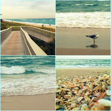 Beach Photography Set of Four Turquoise and Tan Photo Prints by Beach Bum Chix