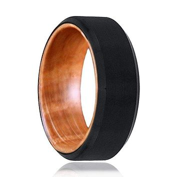 Men's Brushed Black Tungsten Ring With Whiskey Barrel Wood Sleeve 8mm