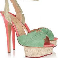 Charlotte Olympia|Isla palm leaf suede and leather sandals|NET-A-PORTER.COM