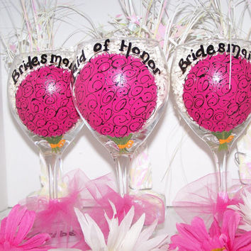 Wedding Painted Wine Glasses Hot Pink Flower Bouquet Painted Bouquet Wine Glasses for Bridal Party Set of 3 Perfect Bridesmaid Gift