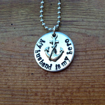 My husband is my hero  Hand Stamped Necklace by KennabelleDesigns