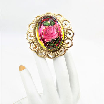 Reverse Painted Rose Brooch, Gold tone, Vintage Intaglio Brooch