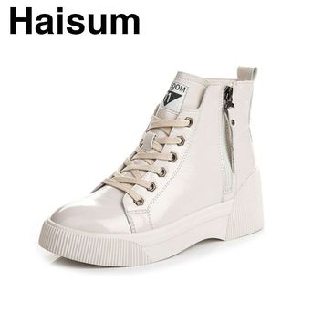 Women's women's boots patent leather casual fashion flat women's shoes ankle boots H-7981