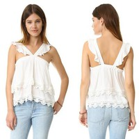 Fashion Sleeveless Frills Strap Double Layer Lace T-shirt Women Solid Color Tops