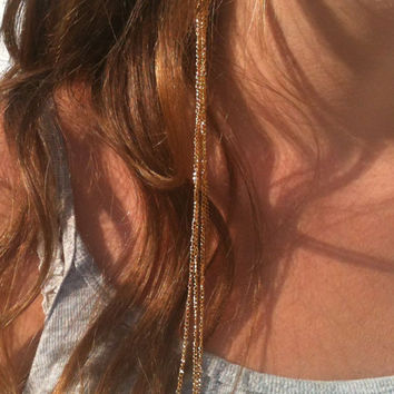 Extra Long Cascading Golden Chain Earrings Long Hair Accessories Earrings