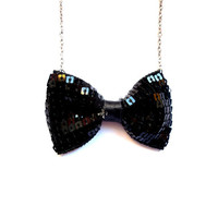 Sparkly Sequin Black Bow Party Necklace