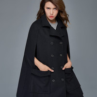 Black Wool Cape - Short Woman's Cloak Jacket Poncho Style Plus Size Winter Coat Double-Breasted with Large Pockets  C975