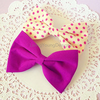 Purple Polka Dot Hair Bow Hipster Clip
