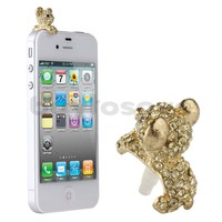 3.5mm Crystal bear Anti Dust Dust-proof Earphone Ear Plug Stopper for iPhone HTC