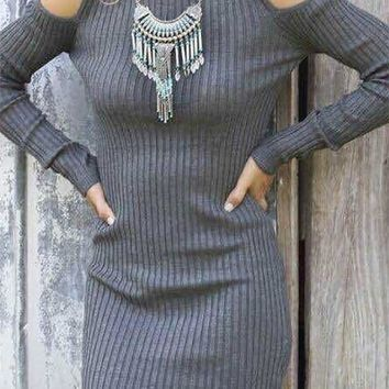 New Grey Irregular Round Neck Long Sleeve Casual Midi Dress