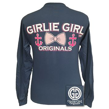 Girlie Girl Originals Collection Anchor Bow indigo Long Sleeves T Shirt