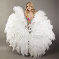 Burlesque Dance 4 Layer White Ostrich Feather Fan Opened 67'' with giftbox