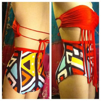 2pc High Waist Swimsuit 'Fringe Fest' by fashionsbyharmony on Etsy
