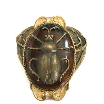 Art Nouveau Egyptian Revival Sash Pin, Huge Czech Amber Glass Cabochon, Brass Scarab, Ornate Art Nouveau Repousse Base, Vintage Gift for Her