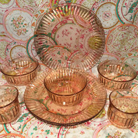 Fortecrisa Ribbed & Diamond Pink Depression Glass from Mexico/8 Pieces/Collectors/Free Shipping