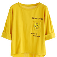 Yellow Smile Letters Print Dip Hem Cuffed T-shirt