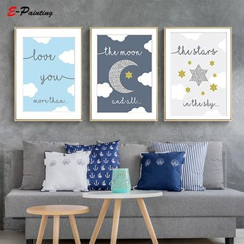 Modern Canvas Art Nursery Wall Art Moon Love You More Than All The Stars Cloud Blue and Grey Painting Poster Lovely Decoration