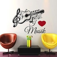 Wall Decals Music Decal Vinyl Sticker Guitar Musical Notes Pattern Decal School Studio Home Decor Bedroom Dorm Living Room Art Murals US28