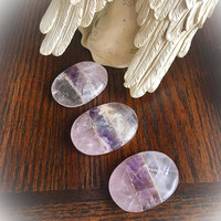 Amethyst / Rose Quartz / Clear Quartz Palm Stone/ Worry Stone (ONE) with Free Bag & Affirmation Card. Three Crystals Bonded