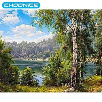 Full Round Diamond Embroidery Landscapes Trees DIY 3d Daimond Painting Nature Diamond Mosaic Lake Beaded Embroidery