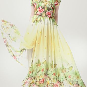 Streetstyle  Casual Tropical Floral Elastic Waist V-Neck Chiffon Plus Size Maxi Dress