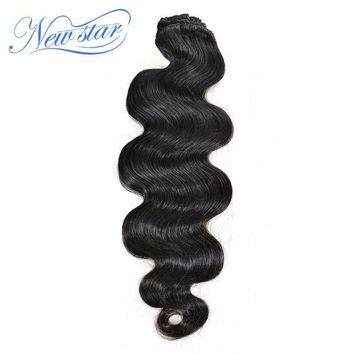 CUPUP9G New Star Brazilian Body Wave Clip In Human Hair Extensions 7Pcs/Set Natural Color 120G 100% Virgin Hair Free Shipping