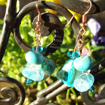 Copper Blues: Shell Earrings, Turquoise Earrings, Copper Earrings, Crystal Earrings, Blue Earrings, Mothers Day