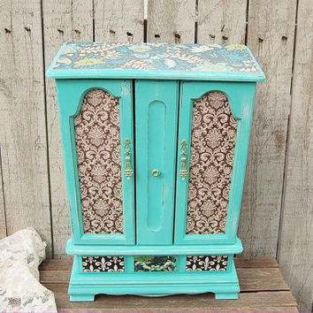 Jewelry Box, Shabby Chic, Jewelry Armoire, Aqua, Turquoise, Blue, Decoupage, Damask, Upcycled, Hand Painted, Large, Tall, Distressed