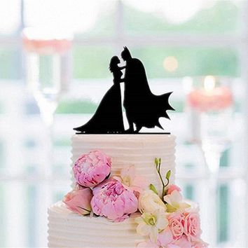 Batman Dark Knight gift Christmas Acrylic Batman Cake Topper Batman and bride Silhouette cake Topper for Wedding Decoration Supplies free shipping AT_71_6