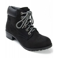 Soda Equity-S Padded Collar Ankle Lace Up Boot BLACK