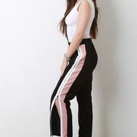 High Rise Zippered Side Stripe Relaxed Pants