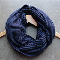 boho infinity grid scarf in navy