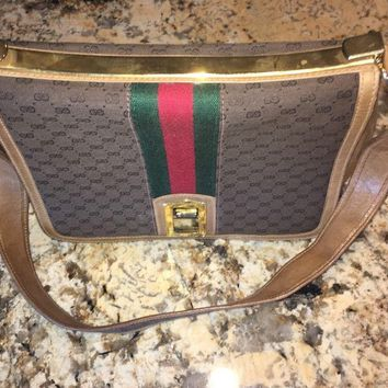 Gucci Vintage Purse Handbag Shoulder Bag Red / Green Stripe Gold Accents