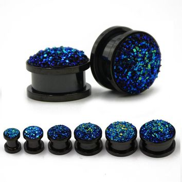 Blue Druzy Quartz Black Anodized Synthetic Stone Ear Flesh Tunnel Plug Piericng Jewelry Screw Fit Expanders