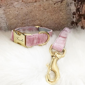 "Adjustable dog collar ""Velvet smooth"""