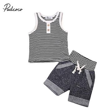2017 Striped Toddler Kids Clothing Set Child Boy Girl Sleeveless Vest Tops+Shorts 2PCS Outfit Children Casual Clothes for 0-4Y