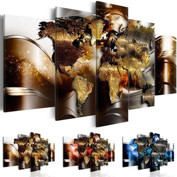 ( No Frame ) Canvas Print Modern Abstract Metal World Map Art Painting Home Decoration, Choose Color & Size