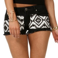 Sale-black And White Geometric Cut Off Shorts
