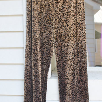 Velvet Pants, Gold Black Damask, Elastic Waist, Wide Leg