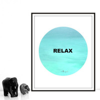 "Printable Typography Inspirational Quote ""Relax"" Turquoise Print Instant Download Motivational Art Yoga Wall Art Home Wall Decor"