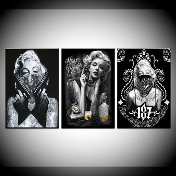 Tattoo Marilyn Monroe Art Print Black White Sexy Canvas Wall Art